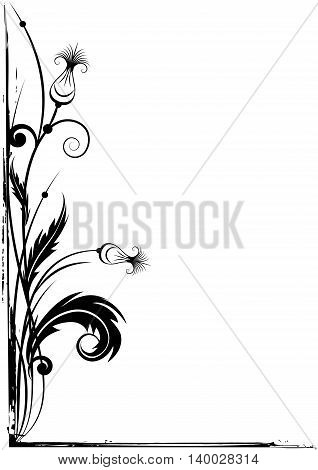 vector grunge border for corner design with stylized thistle in black and white colors