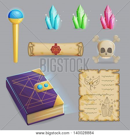 Collection of items to cast a magic spell. Wizard accessories for making magical tricks, ancient book of dead shadows, witch wand, shiny gemstones, scull and sealed manuscript. Game and app ui icons.