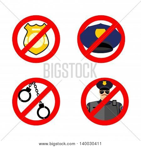 Stop Cop Set Icon. It Is Forbidden By Police. Strikethrough Policeman. Emblem Against Servants Of La