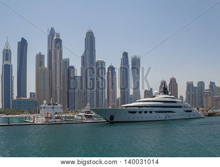 luxury yacht in yacht club of district Marina in Dubai