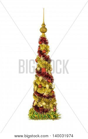 Shining decorative Christmas tree made of tinsel isolated on white background