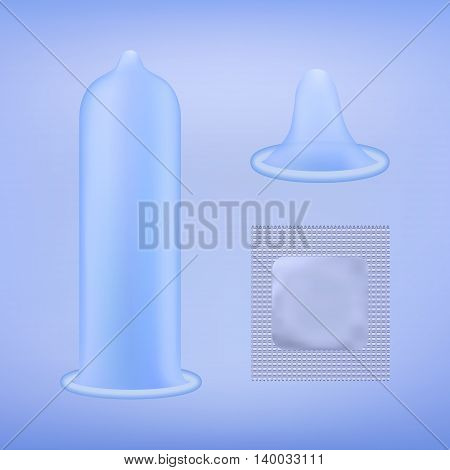 Latex condom without pack rolled-up condom and condom grey package over blue background. Realistic vector illustration. Condom without pack. Condom icon or sign isolated. Contraceptive method