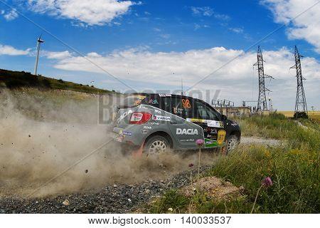 TULCEA, ROMANIA - JUNE 11: Danube Delta Rally special trial windfarm on June 11, 2016 in Tulcea, Romania