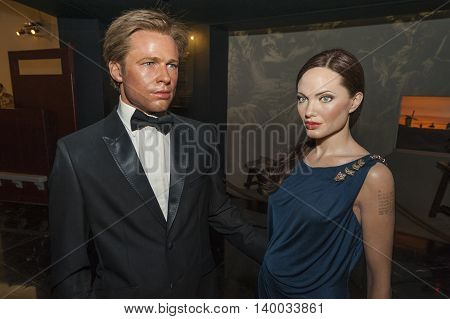 MADRID,SPAIN-MARCH 2016: Brad Pitt and Angelina Jolie  wax figures in Madame Tussauds  Museum