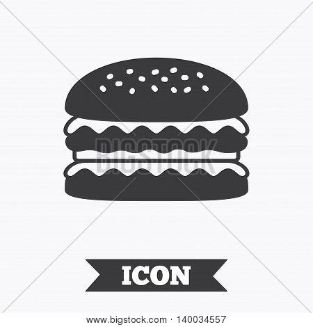 Hamburger icon. Burger food symbol. Cheeseburger sandwich sign. Graphic design element. Flat hamburger symbol on white background. Vector