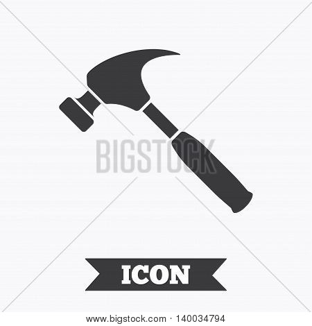 Hammer sign icon. Repair service symbol. Graphic design element. Flat hammer symbol on white background. Vector