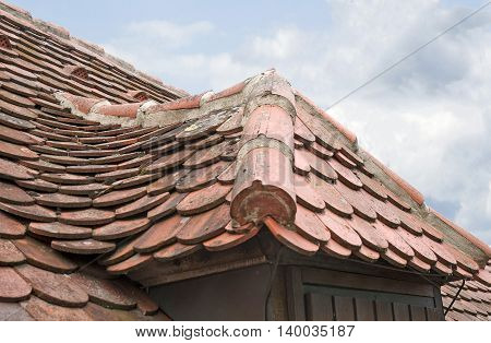 Detail of old clay roof top design