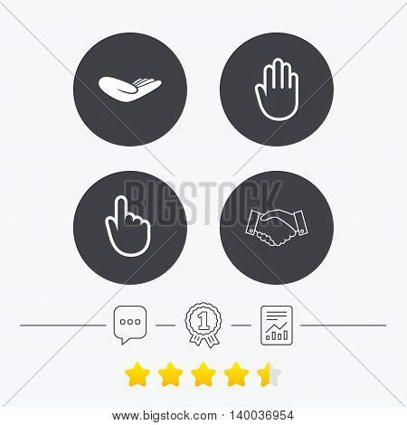 Hand icons. Handshake successful business symbol. Click here press sign. Human helping donation hand. Chat, award medal and report linear icons. Star vote ranking. Vector