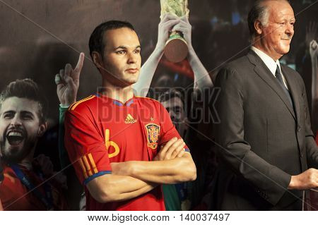 MADRID,SPAIN-MARCH 2016: Andres Iniesta and Vicente del Bosque wax figures  in Madame Tussauds Museum