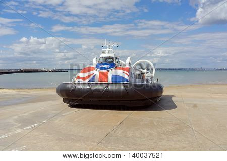 Ryde/UK. 14th July 2016. The Hovertravel service between Ryde and Portsmouth takes approximately 10 minutes to cross the Solent.