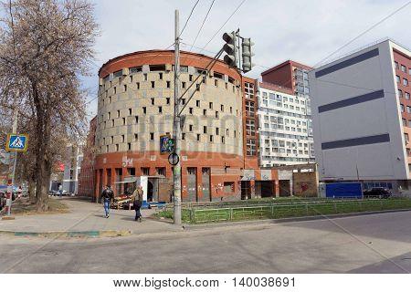 Nizhny Novgorod Russia. - April 26.2016. Abandoned unfinished building multi-level car park on the street Izhora