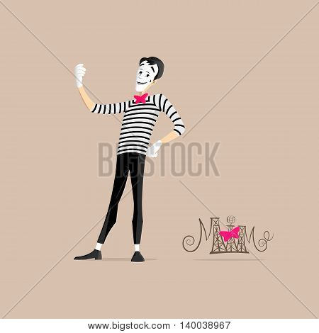 A Mime performing a pantomime called taking a selfie