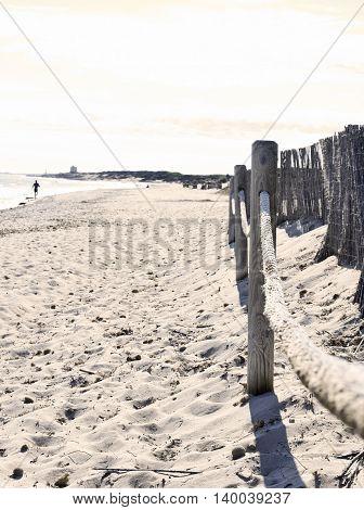 Beach scene with boundary and panoramic view.