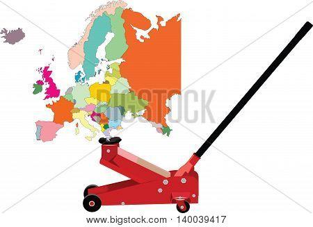 hydraulic jack lifts Europe lifted hydraulically raise