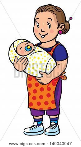 Coloring book of funny smiling woman, nanny or mother with a baby. Profession ABC series. Children vector illustration.