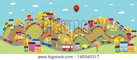 Vector background autumnal city with cars on the roads