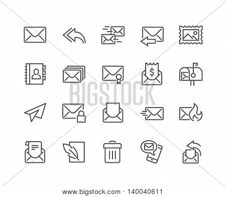 Simple Set of Mail Related Vector Line Icons. Contains such Icons as Newsletter, Spam, Mail Box, Address Book and more. Editable Stroke. 48x48 Pixel Perfect.