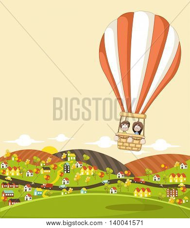 Cartoon kids inside a hot air balloon flying over a suburb neighborhood of a colorful city.