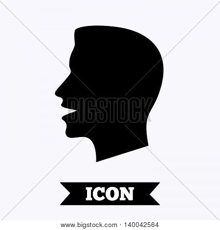 Talk or speak icon. Loud noise symbol. Human talking sign. Graphic design element. Flat talk symbol on white background. Vector
