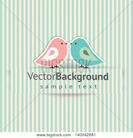 Pink and blue birds on striped background