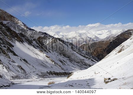 Himalayan mountains in Ladakh, India. Hemis High Altitude National Park. poster