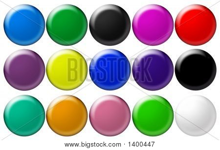 Set Round Glass Buttons