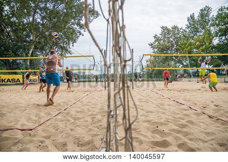 BRATISLAVA SLOVAKIA - JUNE 11 2016 - Players at Beach Volleyball Tournament on June 11 2016 in Bratislava Slovakia
