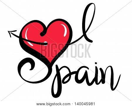 I Love (Heart) Spain - Vector Graphic