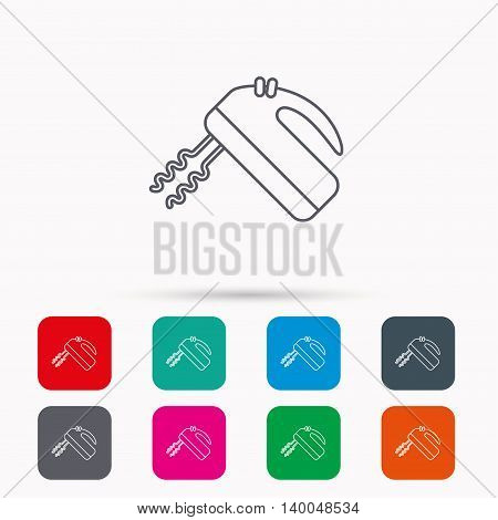 Blender icon. Mixer sign. Linear icons in squares on white background. Flat web symbols. Vector