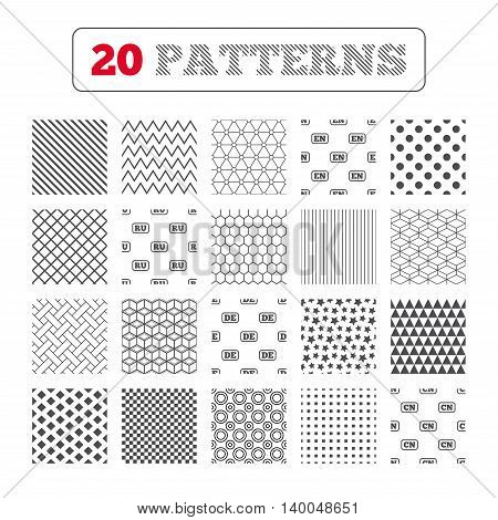 Ornament patterns, diagonal stripes and stars. Language icons. EN, DE, RU and CN translation symbols. English, German, Russian and Chinese languages. Geometric textures. Vector