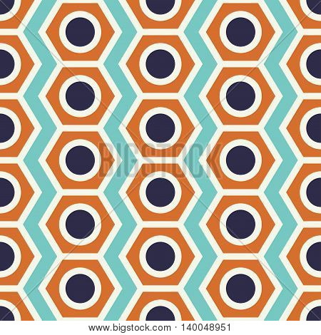 Vintage pencil end seamless pattern geometric shapes in 1970s style. Can be used for web print and book design home decor fashion textile wallpaper.