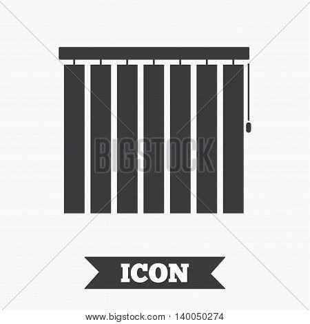 Louvers vertical sign icon. Window blinds or jalousie symbol. Graphic design element. Flat louvers symbol on white background. Vector