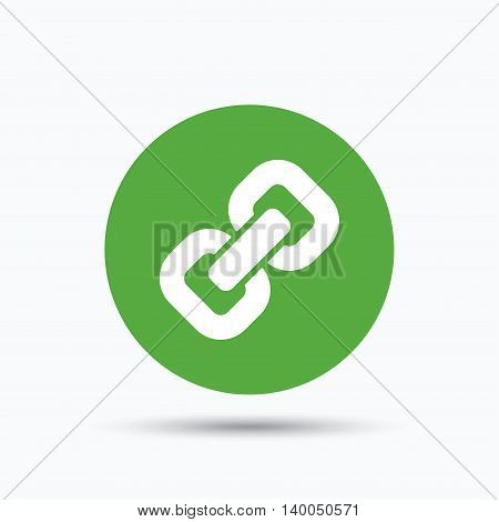 Chain icon. Internet web hyperlink symbol. Flat web button with icon on white background. Green round pressbutton with shadow. Vector
