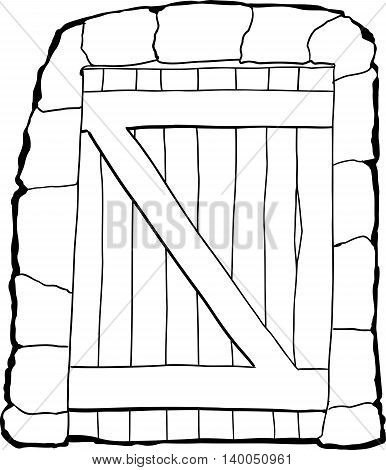 Dungeon Doorway Outline Illustration Over White