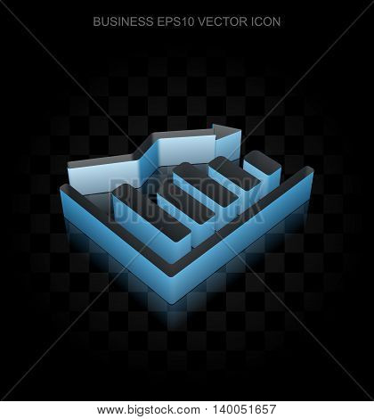 Finance icon: Blue 3d Decline Graph made of paper tape on black background, transparent shadow, EPS 10 vector illustration.
