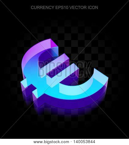 Money icon: 3d neon glowing Euro made of glass with transparent shadow on black background, EPS 10 vector illustration.