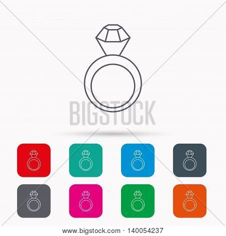 Engagement ring icon. Jewellery with diamond sign. Linear icons in squares on white background. Flat web symbols. Vector