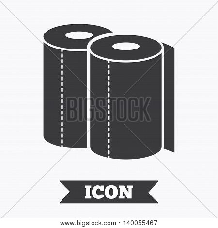 Paper towels sign icon. Kitchen roll symbol. Graphic design element. Flat paper towels symbol on white background. Vector