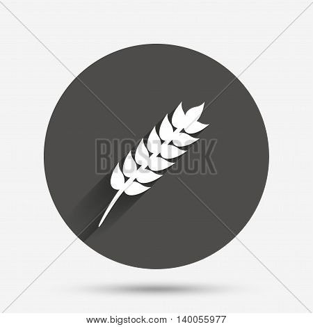 Gluten free sign icon. No gluten symbol. Circle flat button with shadow. Vector