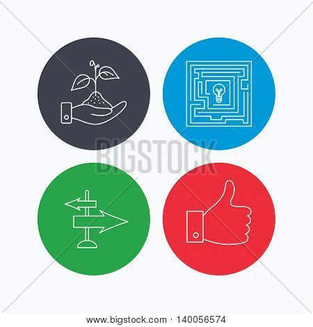 Save nature, thumb up and direction icons. Problem challenge, like linear signs. Linear icons on colored buttons. Flat web symbols. Vector