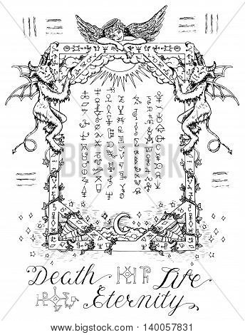 Gothic frame or magic border with angel and demons, heaven and hell religious background. Sketch illustration with mystic and occult hand drawn symbols. Halloween and esoteric concept