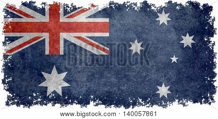 National flag of Australia with distressed vintage textures and worn edges