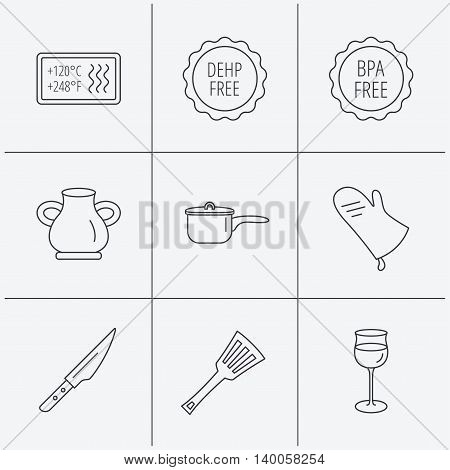 Saucepan, potholder and wineglass icons. Kitchen knife, utensils and vase linear signs. Heat-resistant, BPA, DEHP free icons. Linear icons on white background. Vector