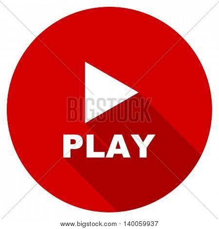 play red vector icon, circle flat design internet button, web and mobile app illustration