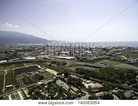 Aerial View of Pompeii, Italy