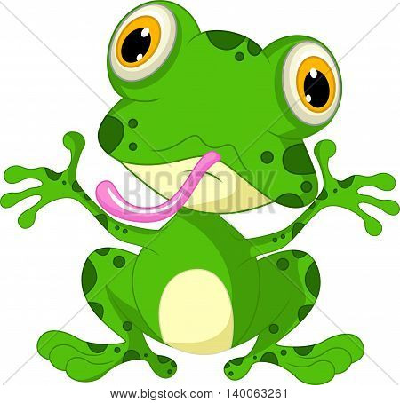 funny frog cartoon sitting for you design