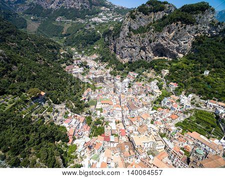 Aerial View of Amalfi in Amalfi Coast, Italy