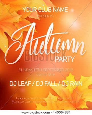 vector autumn party poster with autumn leaves and hand written lettering word - autumn.