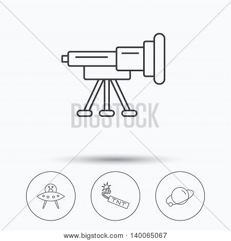 Ufo, planet and telescope icons. TNT dynamite linear sign. Linear icons in circle buttons. Flat web symbols. Vector
