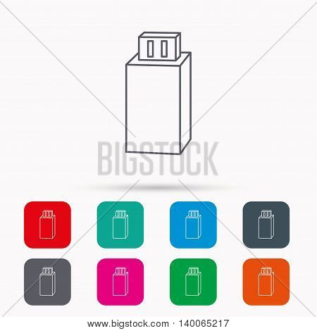 USB drive icon. Flash stick sign. Mobile data storage symbol. Linear icons in squares on white background. Flat web symbols. Vector
